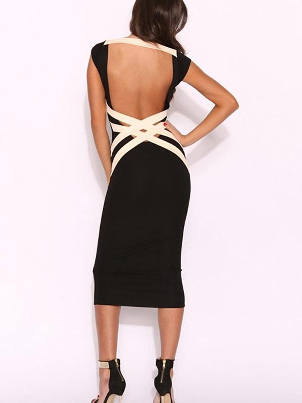 Fashion Pencil Backless party Evening Midi Dress