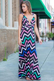 Women Maxi Boho Striped Print deep V neck backless Dress