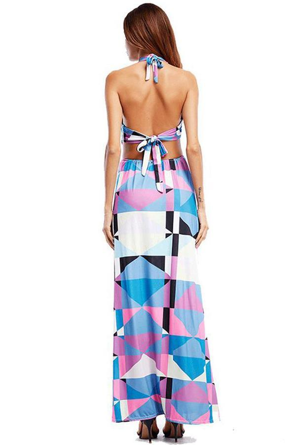 Women beach Print Elegant fashion sleeveless backless Dress