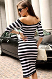 Women Sexy Off Shoulder Striped Casual Beach Bodycon Dress