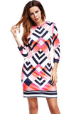 Women Printed Slim Runway Tunic Sheath  Bodycon Elegant Dress