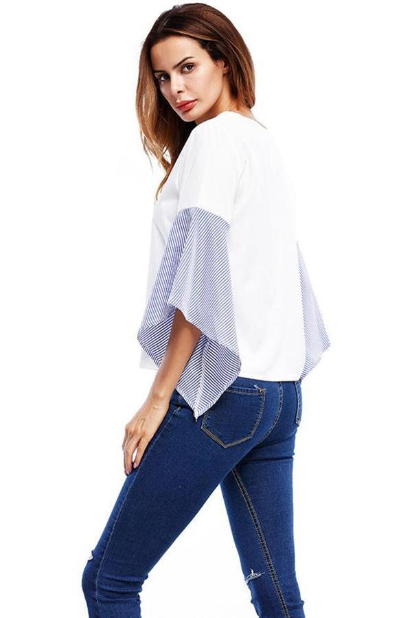 Women Striped Shirt O Neck Long Flared Sleeve Casual Tops