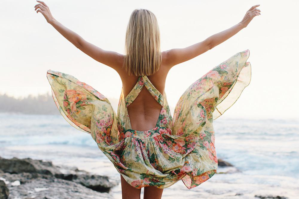 Bohemian Chiffon Printed Backless Vacation Dress