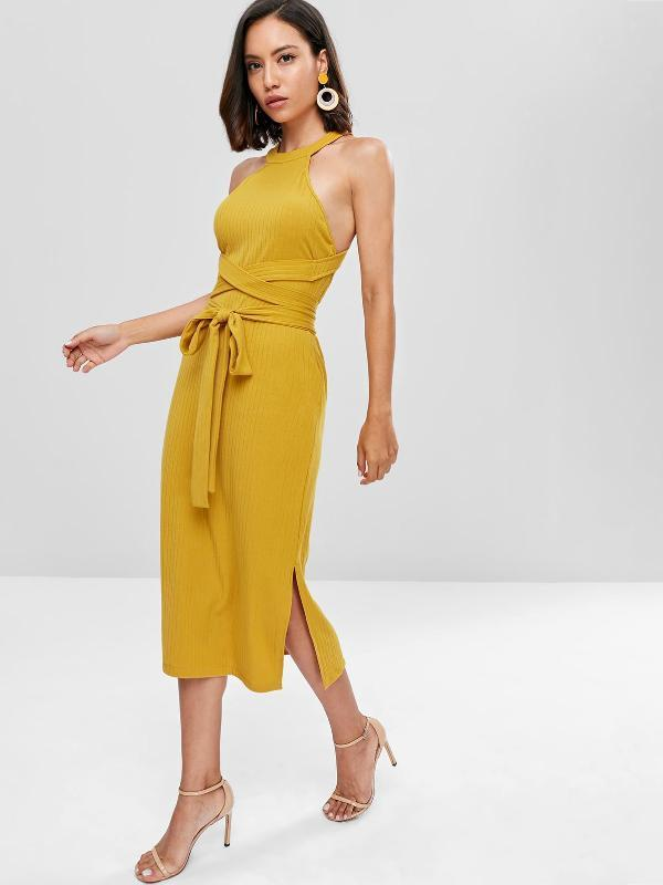 Slit Cut Out Solid Color Midi Dress