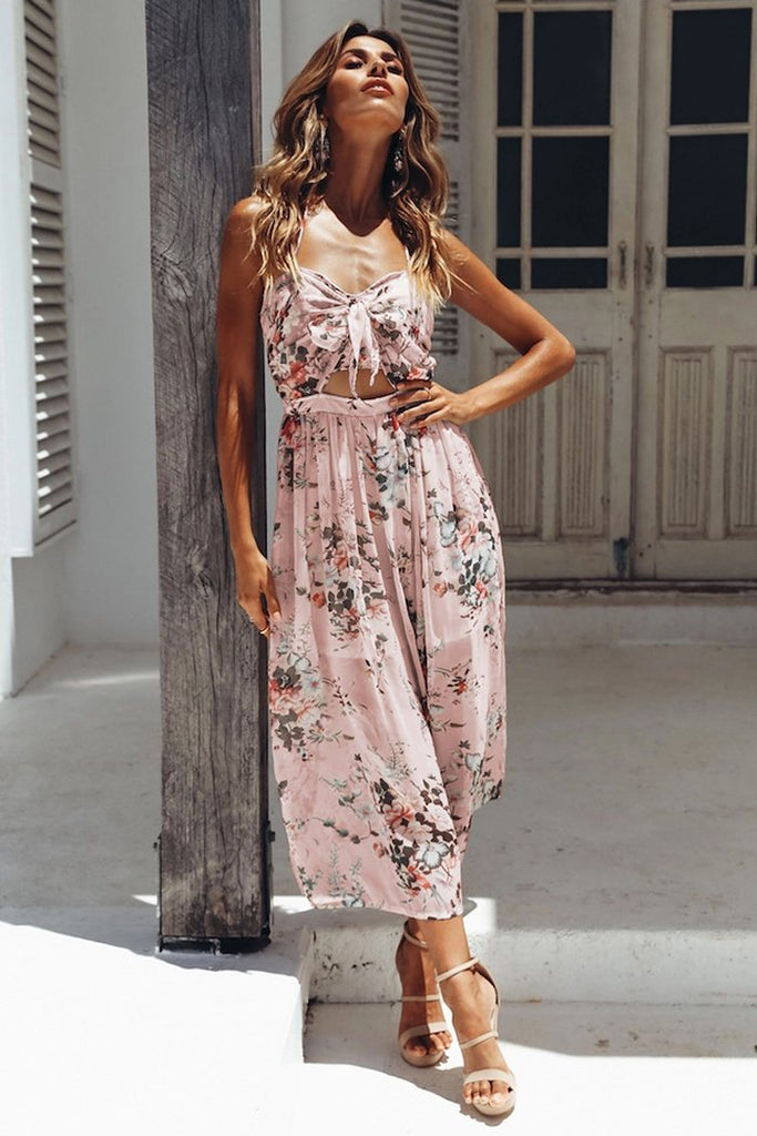 Floral bow tie  backless midi dress