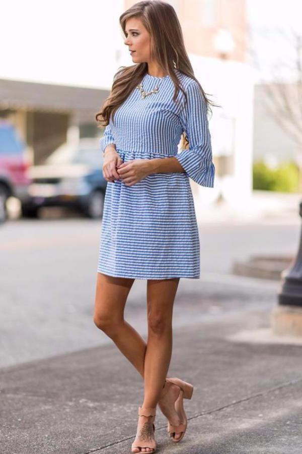 Women Stripe Printing Half Puff Sleeve Party Dresses