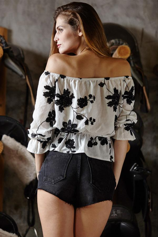Women Slash Neck Long Sleeve Shirt Floral Loose Casual Tops