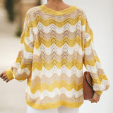 Yellow Striped RainbowHollow Out Boho Sweater