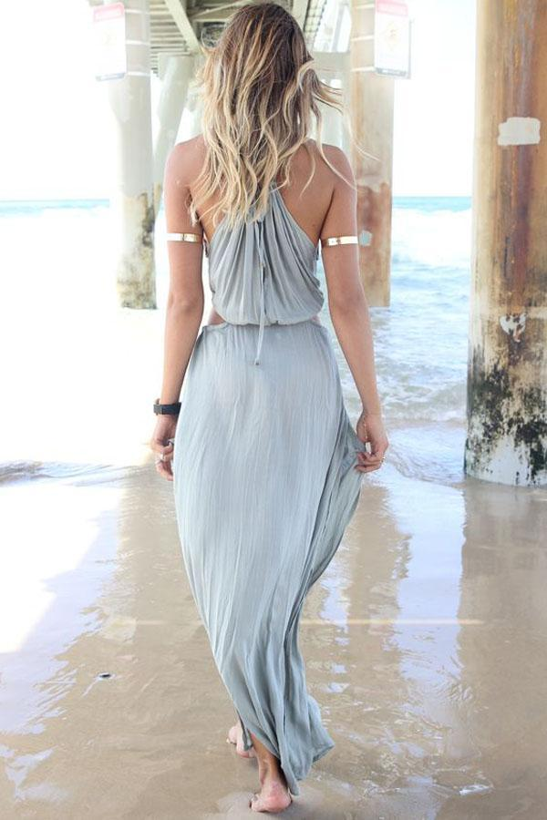 Women Summer Halter Neck Sleeveless Backless Solid Beach Dress