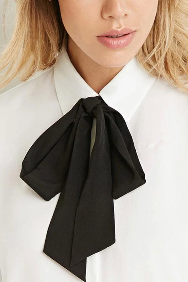 Women's Butterfly Bow Tie Chiffon Shirts Slim Casual Dress