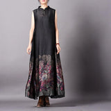 Retro Black Flower Print Sleeveless Dress