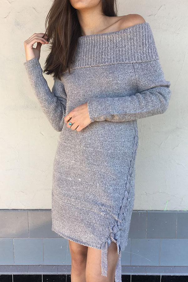 Women  Knitted Off Shoulder Long Sleeve Strapless Sexy Dress
