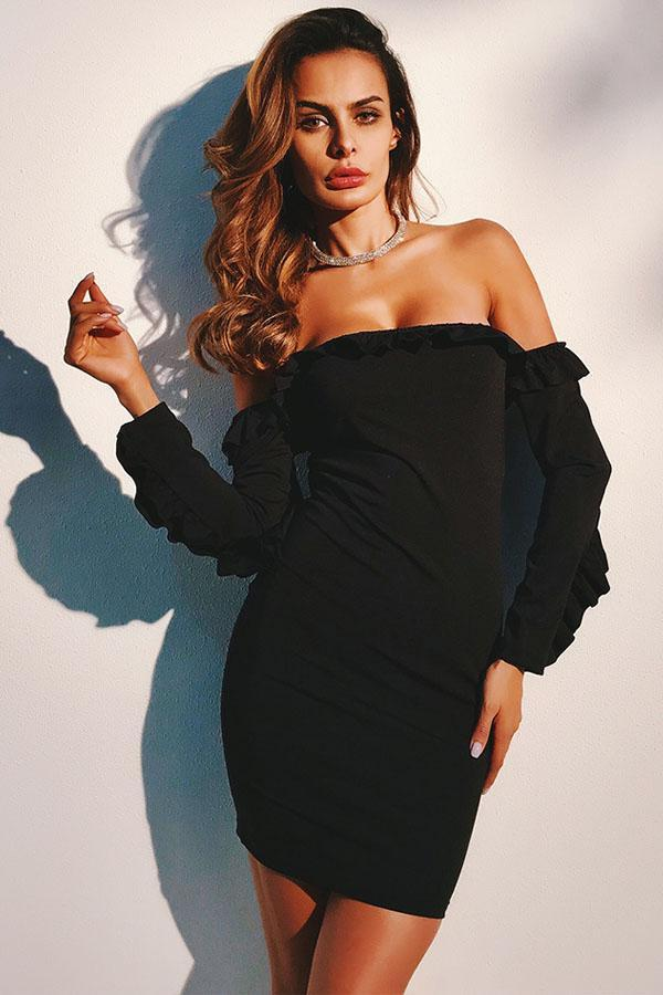 Women Slash Neck Black Ruffled Long Sleeve Slim Mini Dress