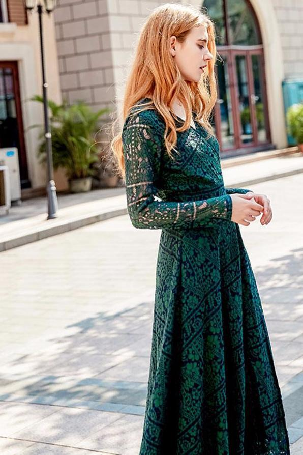 Women Elegant Vintage Lace Office A-Line Hollow Out  Dress