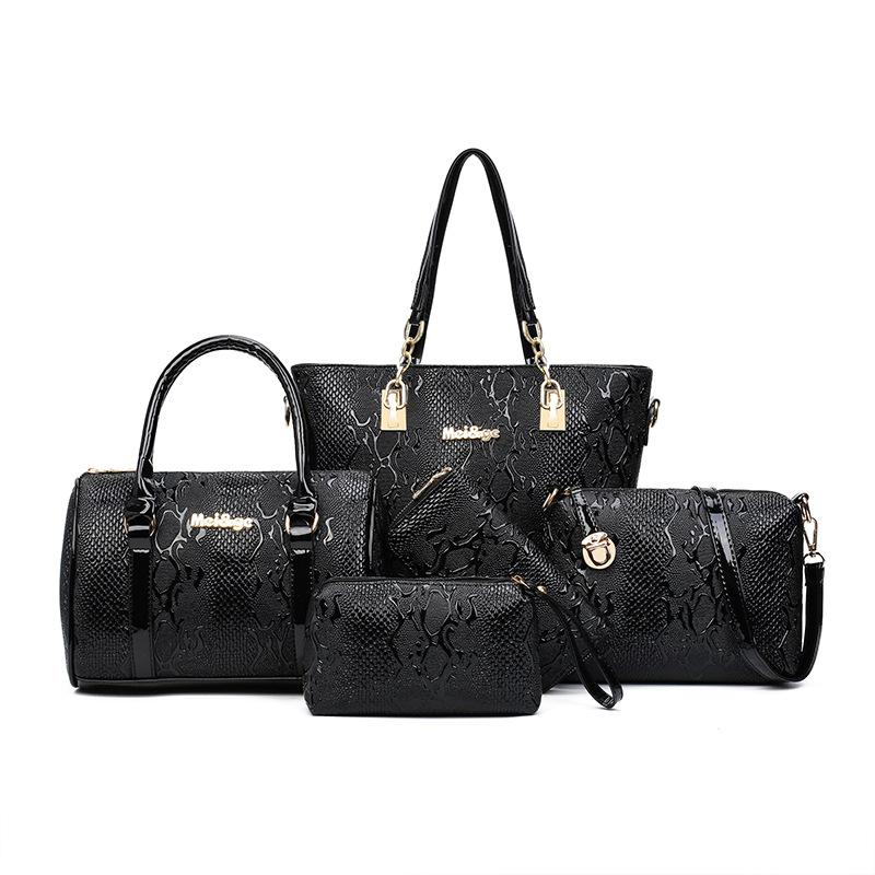 Fashion Snakeskin Mother and Daughter Bag (Five-piece Set)