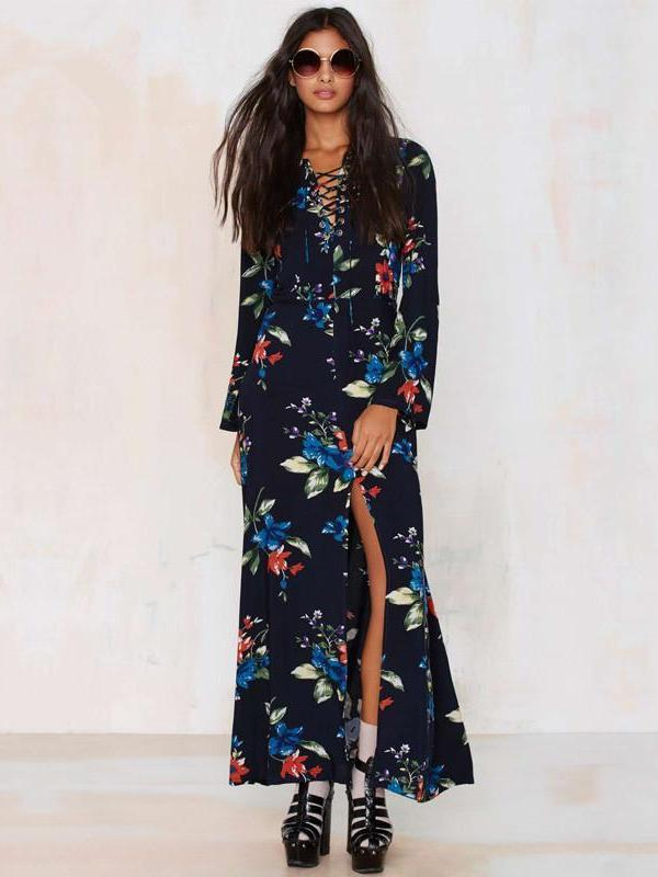 Beautiful Bohemia Chiffon Floral V-Neck Maxi Dress
