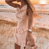 Stacked ruffled one-shoulder  mini dress