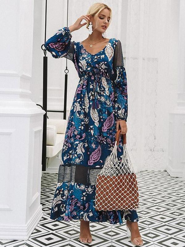 V-neck Hollow Floral Puff Sleeves Maxi Dress