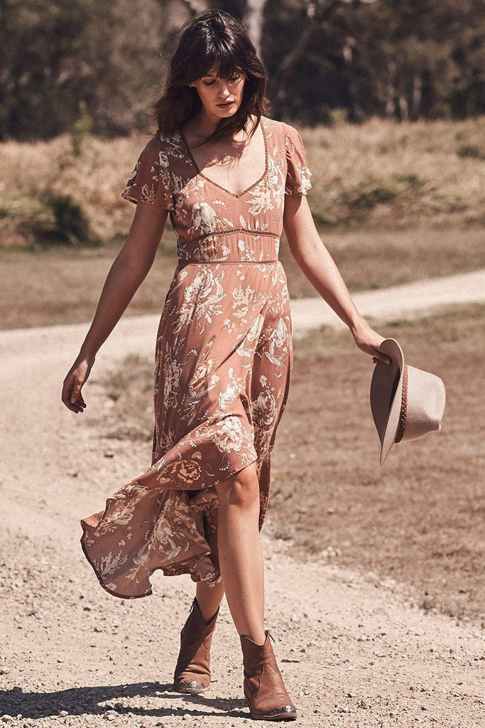 Bohemian lace stitching long ruffled print Midi dress
