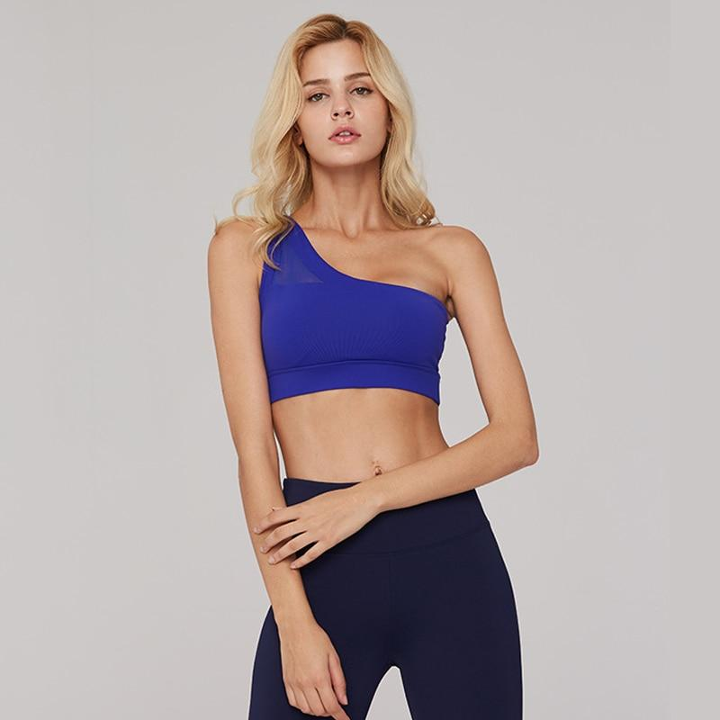 Sexy One Shoulder Top Wear For Women Gym Brassiere