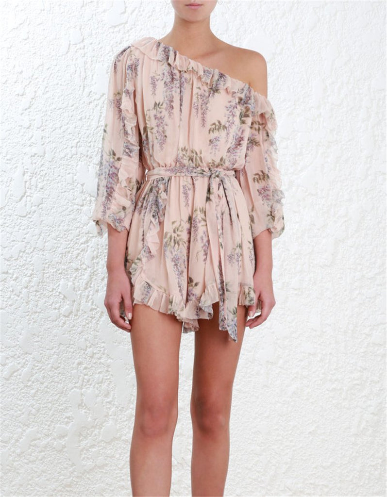 Floral Print One Shoulder Long Sleeves Jumpsuits