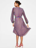 4 Colors Stripe Printed Bandage Waist Maxi Dress