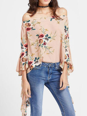 Chiffon Blouse Women Off shoulder Long Flare Sleeve Top