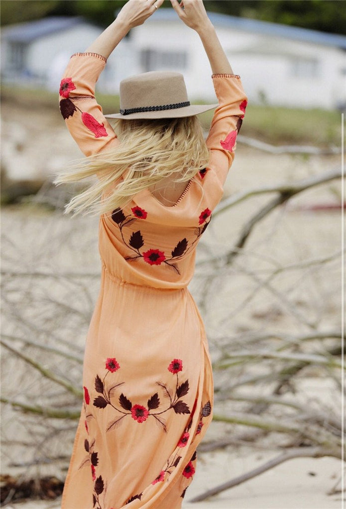 Printed Bohemian Style Long Dresses BOHO Embroidery White Maxi Dress