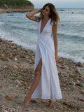 Bohemia Waisted Split-side Deep V-neck Maxi Dress