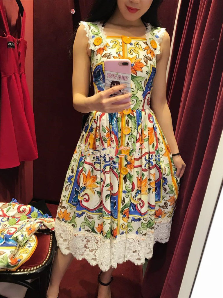 Coloured Pottery Printing Spaghetti Straps Midi Dress