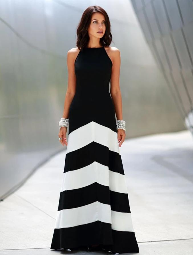 Black Striped Split-joint Sleeveless Maxi Dress