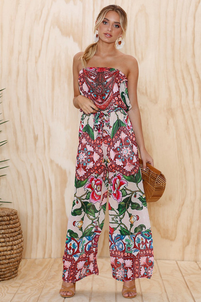 Sexy Word Shoulder Tube Top Loose Jumpsuit