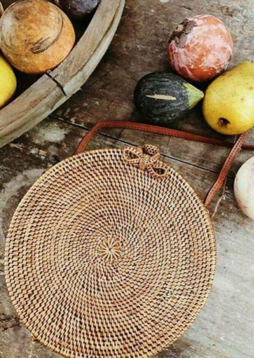 Bali round rattan bag shoulder Messenger bag seaside beach vacation woven handbags