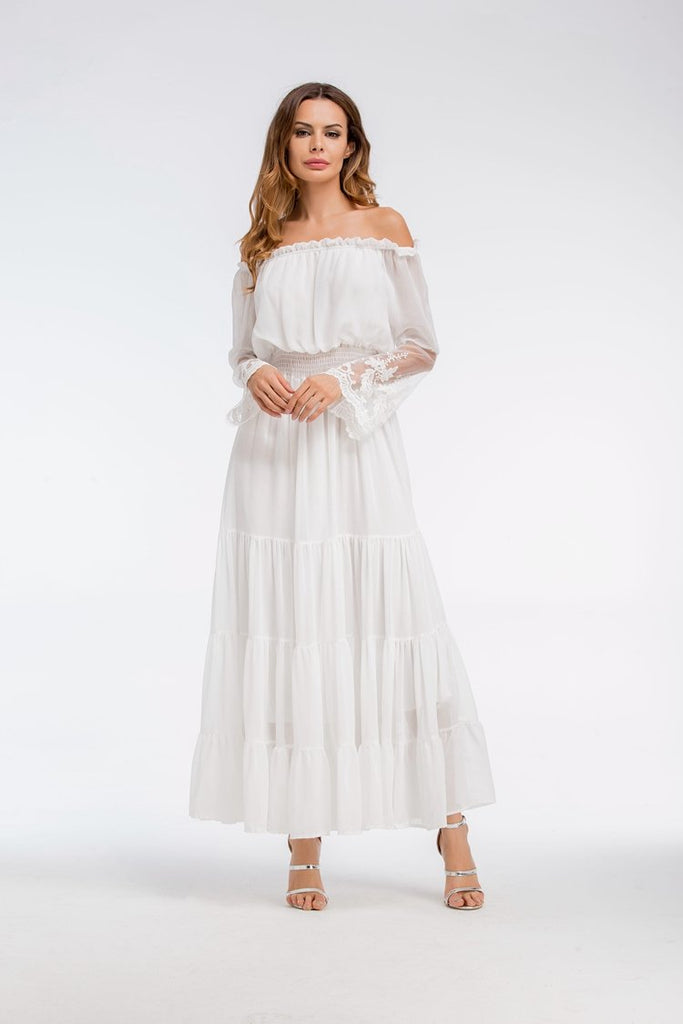 Sexy Ankle-length Lace Elegant Long Loose Dress