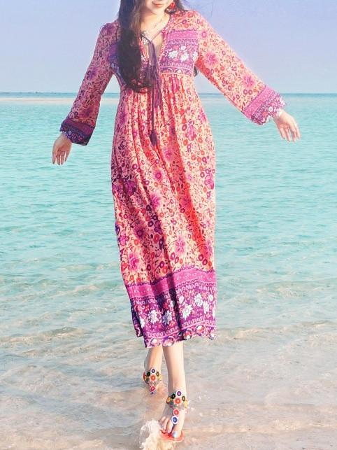 Women Gypsy Ethnic Maxi Bohemian Floral Print Long Sleeve Dress