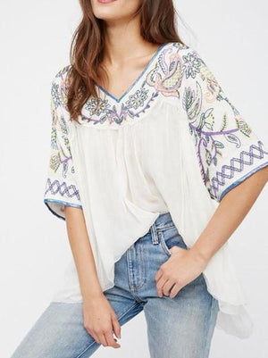 Women Summer Blouse Casual  V-neck Embroidery Tops