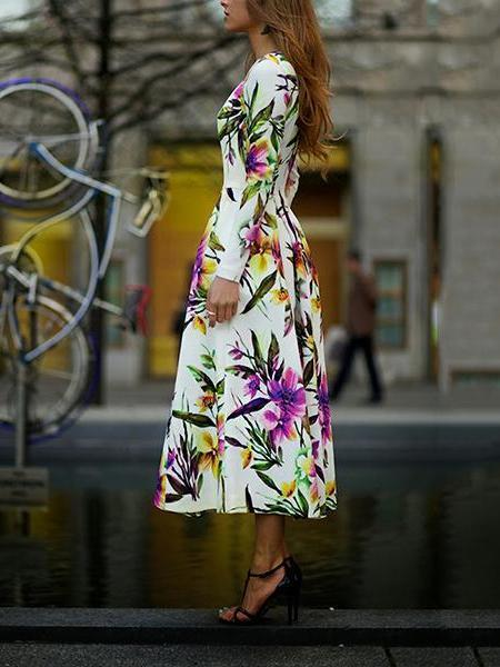 Long-Sleeved Printed Round Collar Expansion Dress