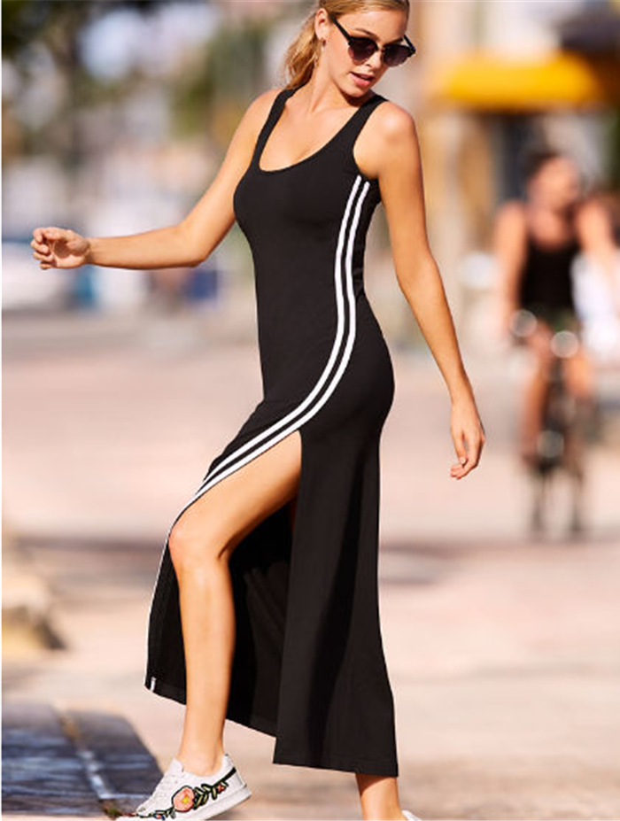 Vest Strips Split Oneck Long Dress