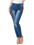 Women Jeans Slim Embroidered High Waist Bottom