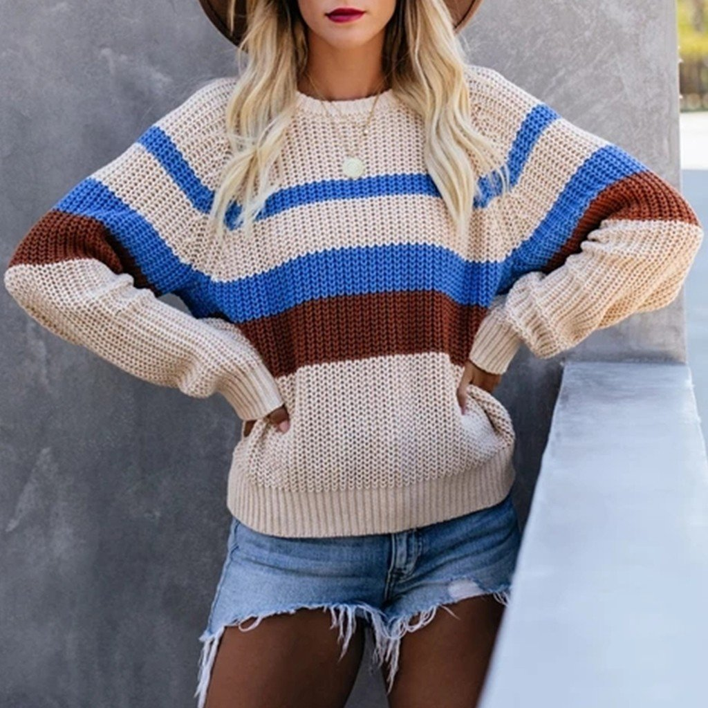 Striped Stitching Knit Pullover Casual Long-sleeved Round Neck Sweater