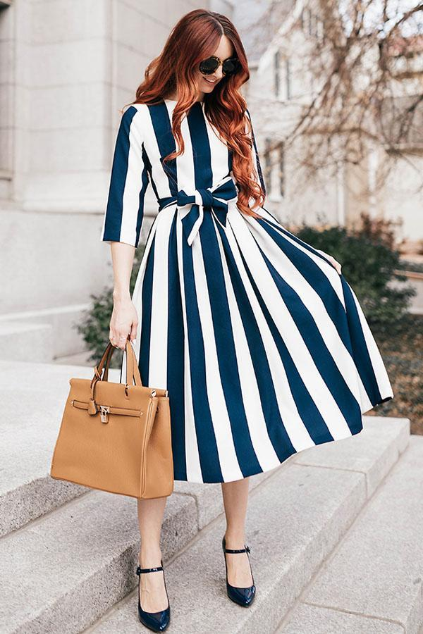 Women Long Striped O neck Slim Belted Bow Formal Dress Half Sleeve