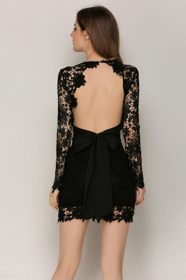 Women Patchwork Lace Mini Party Backless Hollow Out Sexy Dress