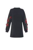 Women Black Long Sleeve Embroidery Short Dress O Neck
