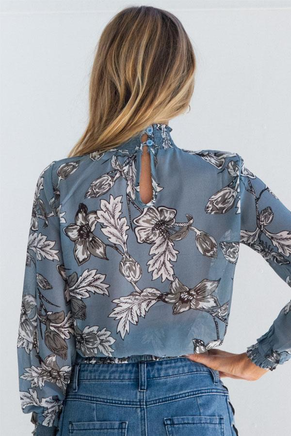 Women Chiffon Blouse Vintage Floral Printed Long Sleeve Shirt Top