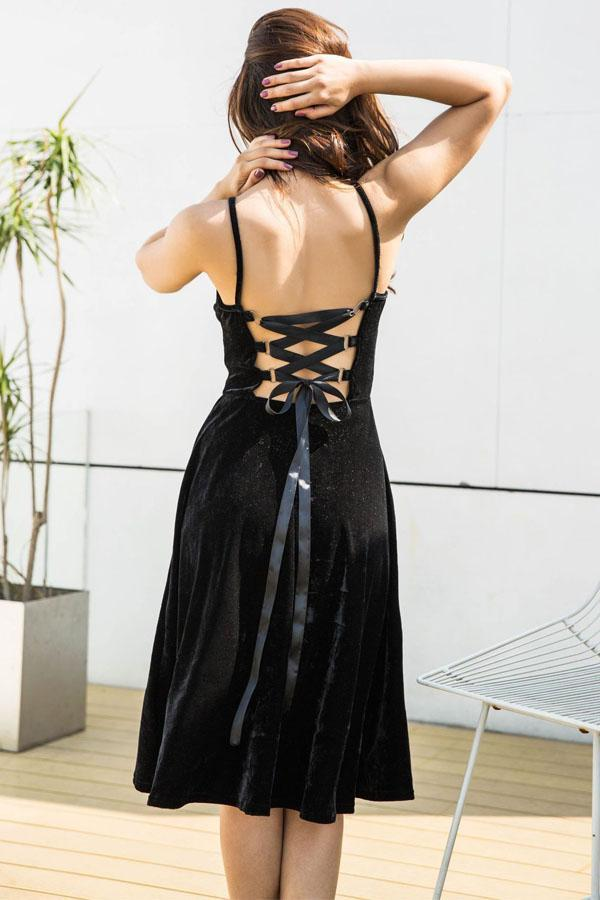 Women Elegant Sexy Backless Lace Up Sleeveless Strap Dress
