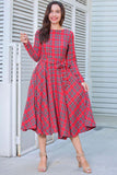 Women Cotton Long Sleeve Casual Loose Waist Lace-up Bow Dress
