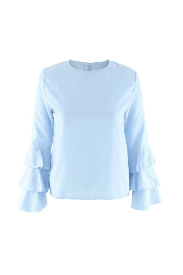 Women Ruffled Tops Casual Loose Polyester Long Sleeve T-shirts