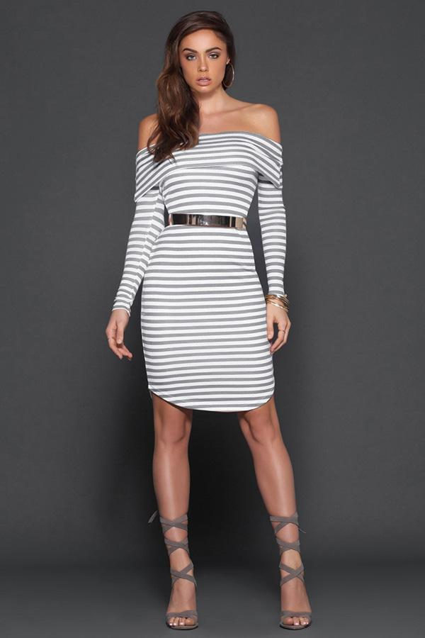 Women Sexy Stripes Long Sleeve Off Shoulder Bodycon Dress
