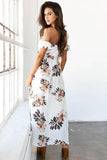 Women Boho Off shoulder beach Floral print Vintage maxi Dress