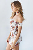 Women Vintage Summer Off Shoulder Floral Printing Sexy Dress